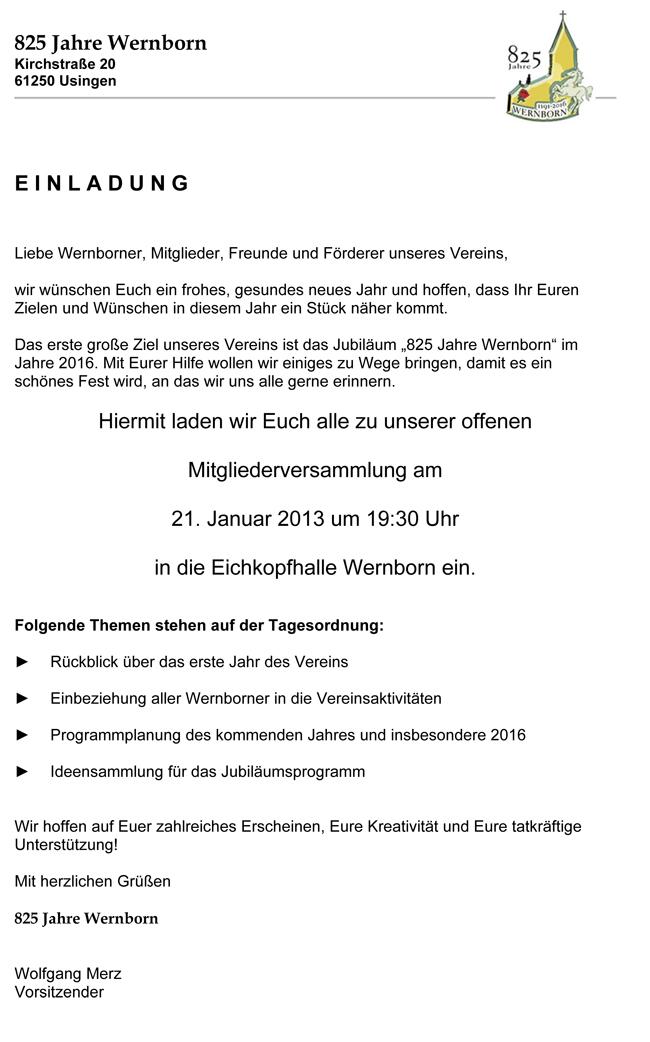 825 Jahr Feier Wernborn